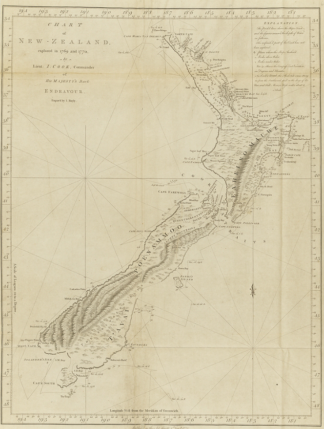 IMAGE: Cooks Chart Published in An Account of the Voyages Undertaken by the Order of His Present Majesty by John Hawkesworth. Engraved by I. Bayly London: Strahan & Cadell, 1773. Ref:  1/2-002575-F.