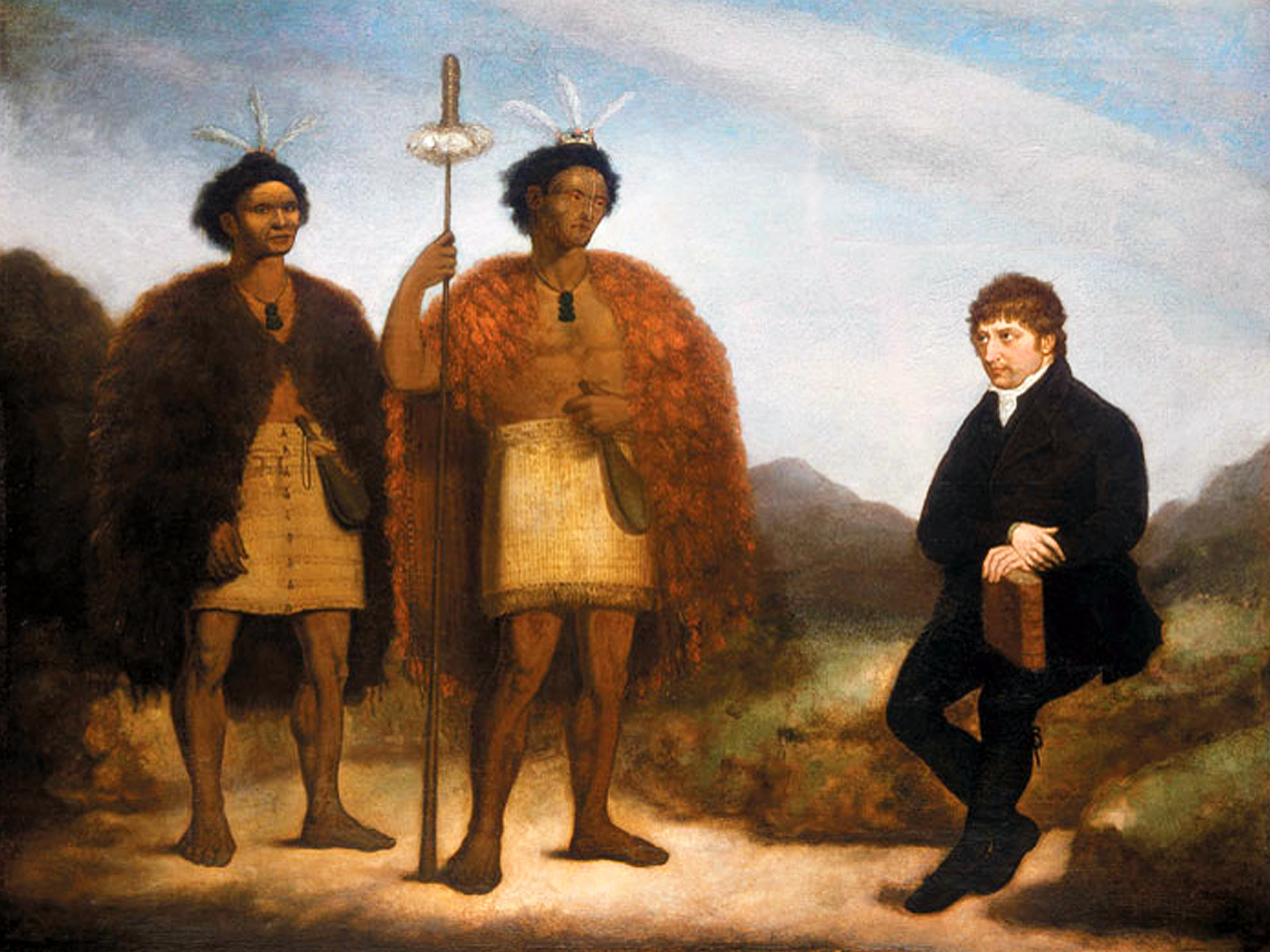 IMAGE: The chiefs Waikato and Hongi Hika with missionary Thomas Kendall in England, oil painting by James Barry (1820). National Library of New Zealand Te Puna Mātauranga o Aotearoa, Alexander Turnbull Library, Wellington (Ref:G-618)