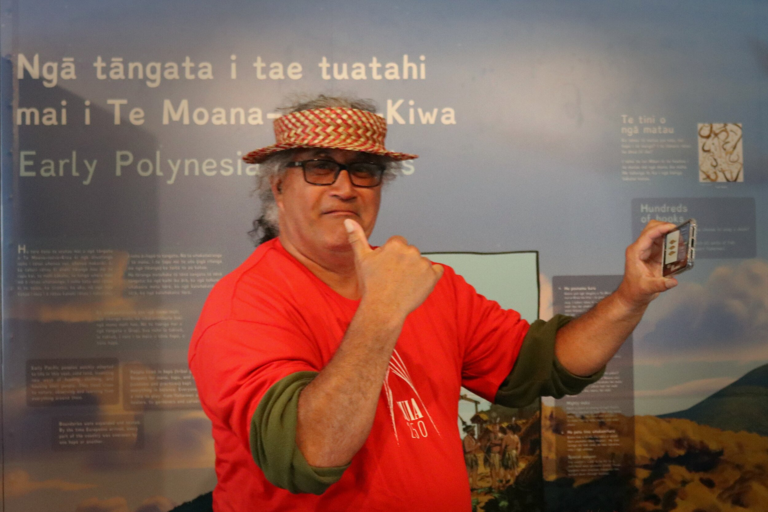 Tuia 250 National Coordinating Committee co-chair Hoturoa Barclay-Kerr gives a thumbs-up to the roadshow content.