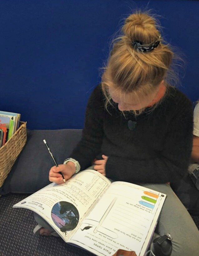 Exploring the Activity Book at the roadshow in Opua
