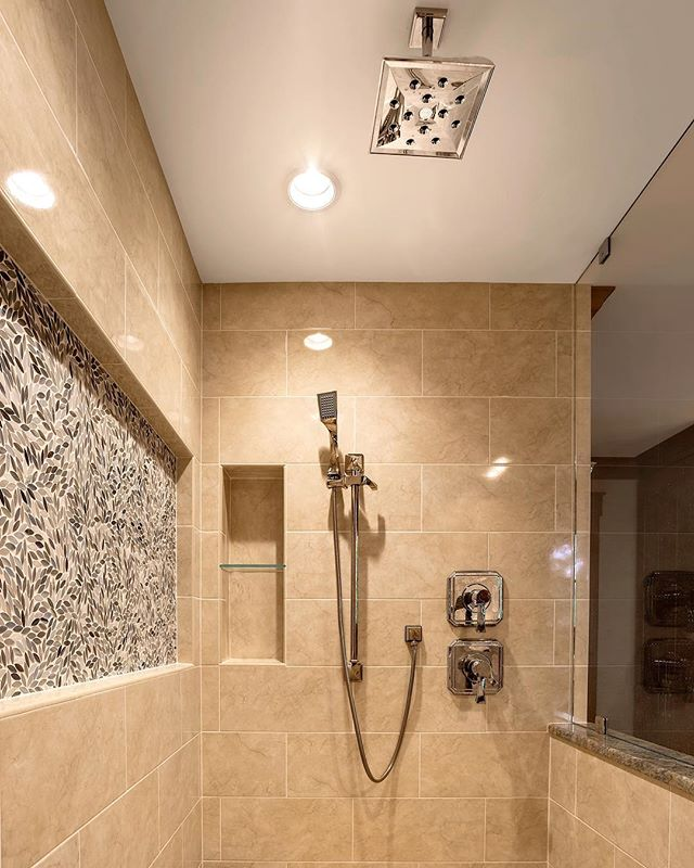 A great shower to wash daily stressors away after a hectic day  #bathroomgoals #stressrelief #design #instagood #homebuilder #michiganhomes #inspiration #homes