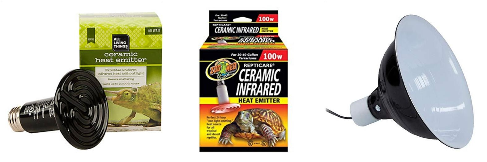 Recommended heating options: All Living Things Ceramic Heat Emitter, Zoo Med Ceramic Heat Emitter, and All Living Things Heat Lamp.