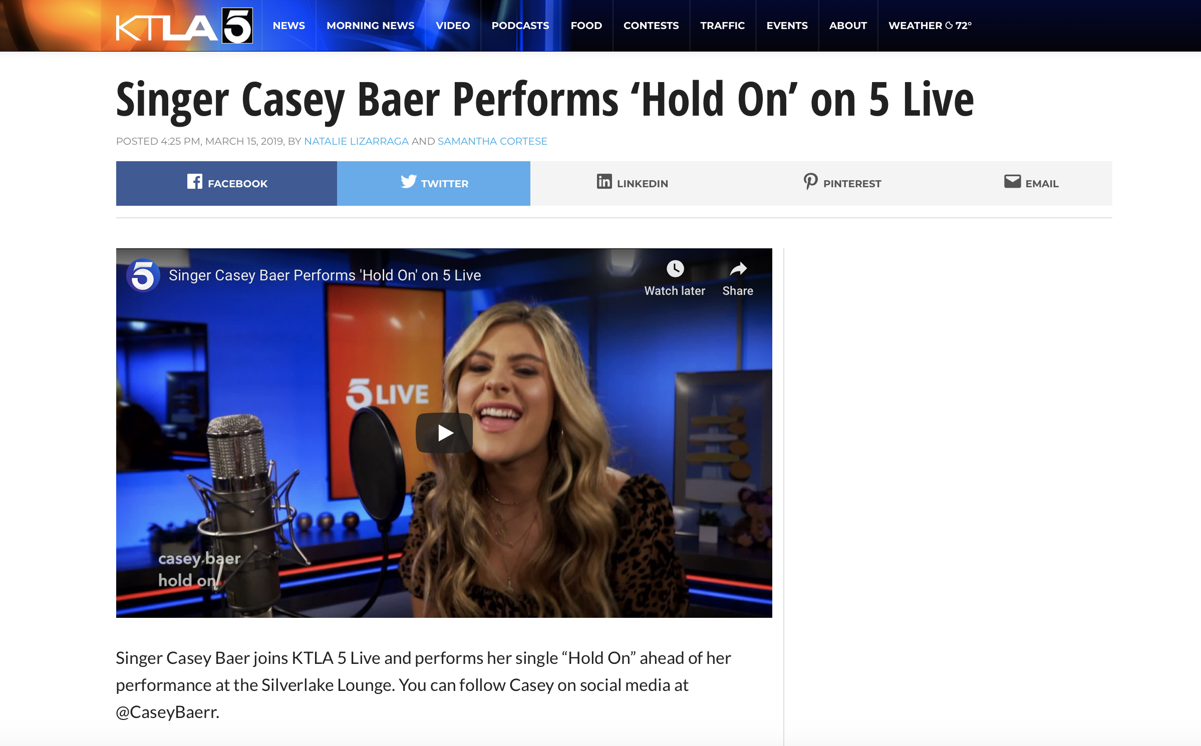 """Singer Casey Baer Performs 'Hold On' on 5 Live - Singer Casey Baer joins KTLA 5 Live and performs her single """"Hold On"""" ahead of her performance at the Silverlake Lounge."""
