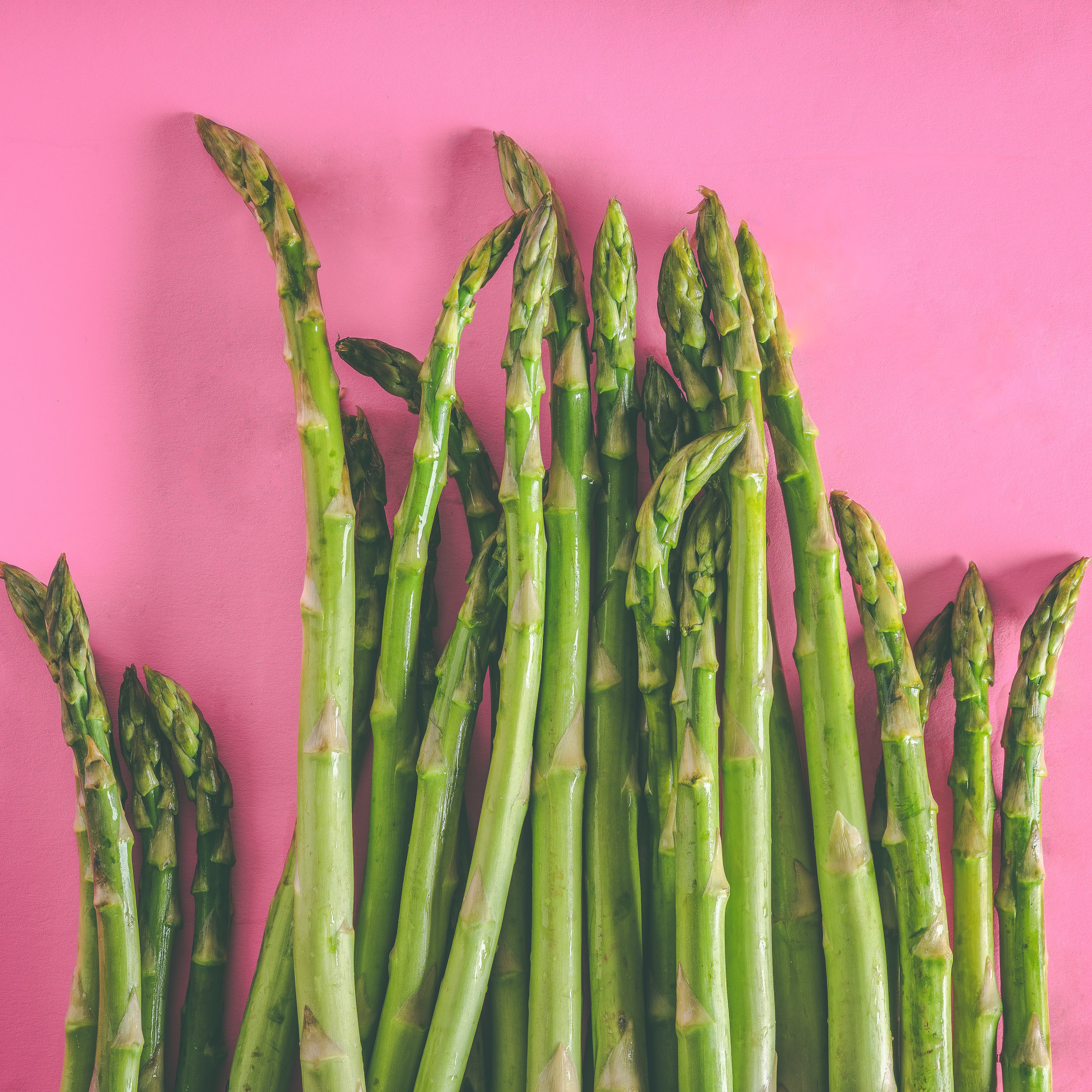 Asparagus - Asparagus is packed full of Vitamins and minerals including Vitamins A, C, E, K, B6, folate, iron, copper, calcium, protein, antioxidants and fiber. It is low in fat and calories and high in soluble and insoluble fiber.