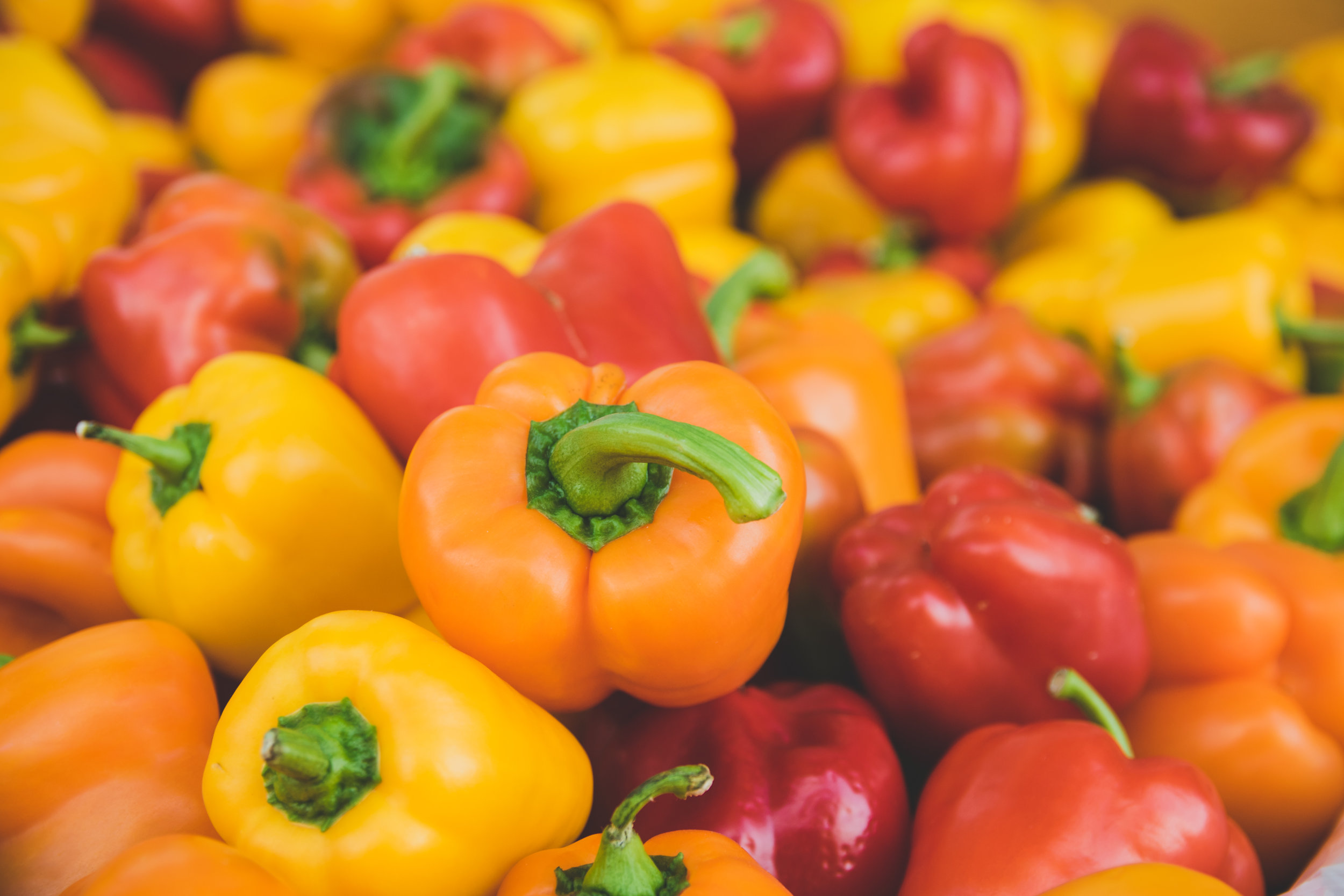 Peppers - Peppers are high in Vitamin C and carotenoids. Carotenoids help promote eye health. They contain more than double daily vitamin C intake, are a powerful antioxidant, and are a great source of folate a Vitamin B6 and folate. Specifically, red peppers are one of the highest veggies with the antioxidant lycopene and are considered a superfood.