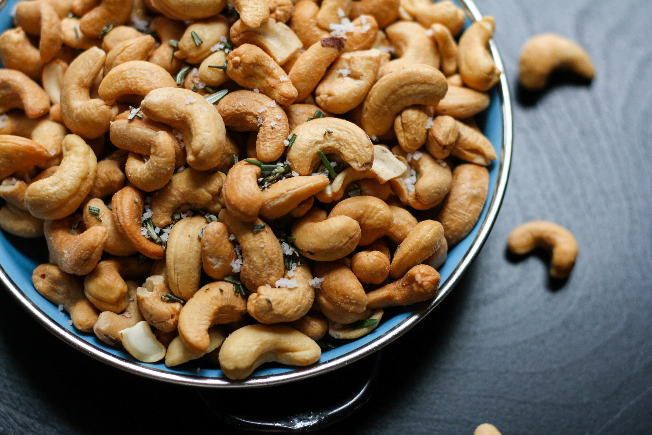 Cashews - Cashews are high in Vitamin B6, Vitamin E, Vitamin K, as well as copper, zinc, iron, phosphorus, magnesium and selenium. Cashews are one of the lowest-fiber and highest carbohydrates nuts.