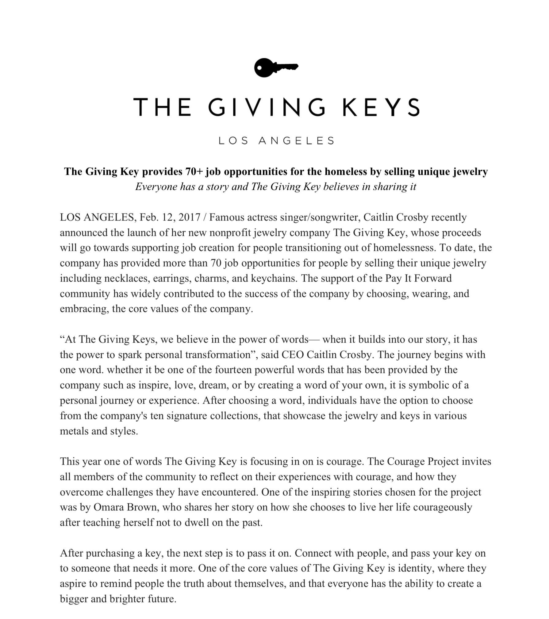 Giving Key - Example Press Release