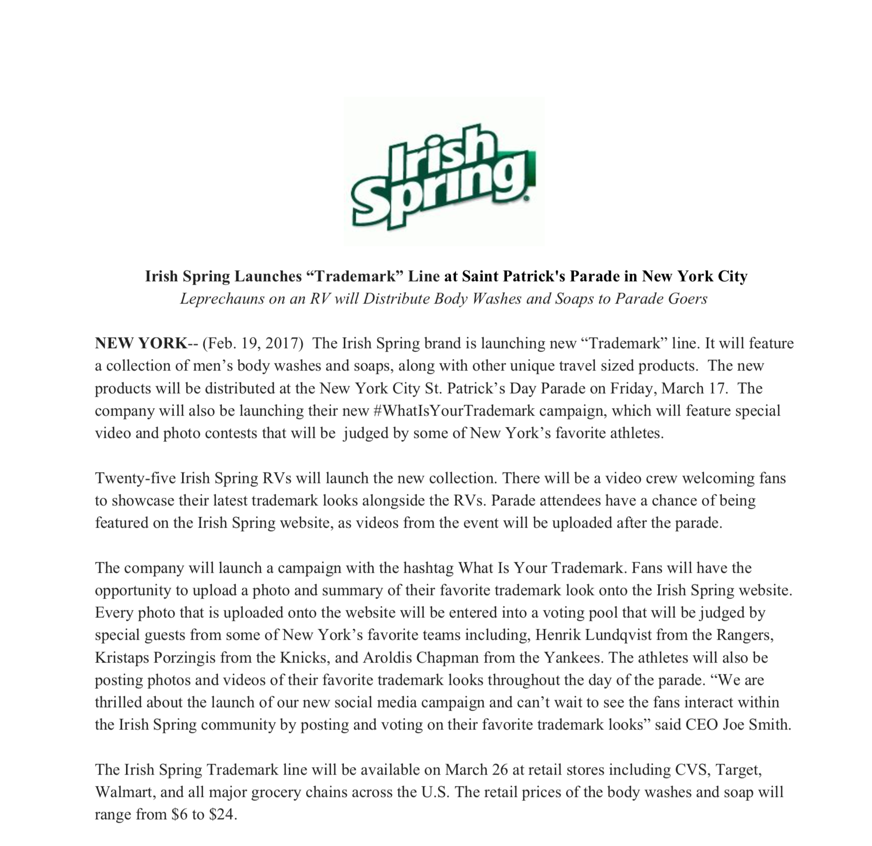Irish Spring- Example Press Release