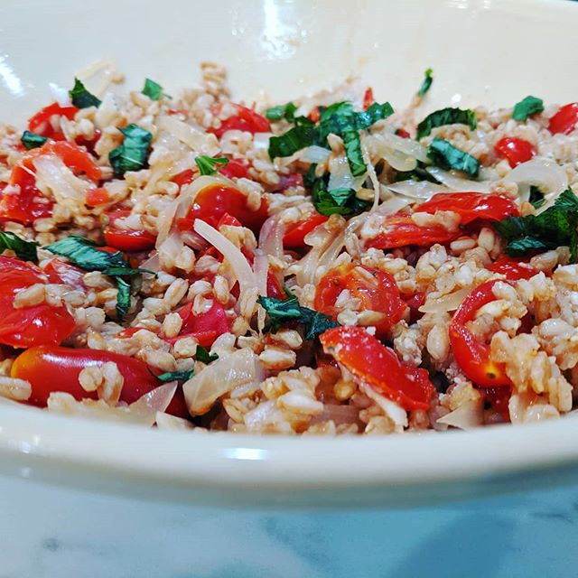 Tomatoes are still in Town! Move over Pumpkin! Enjoying freshly picked cherry tomatoes with farro because we still can! #garden #cook #cherrytomatoes #farro #basil #whatsfordinner