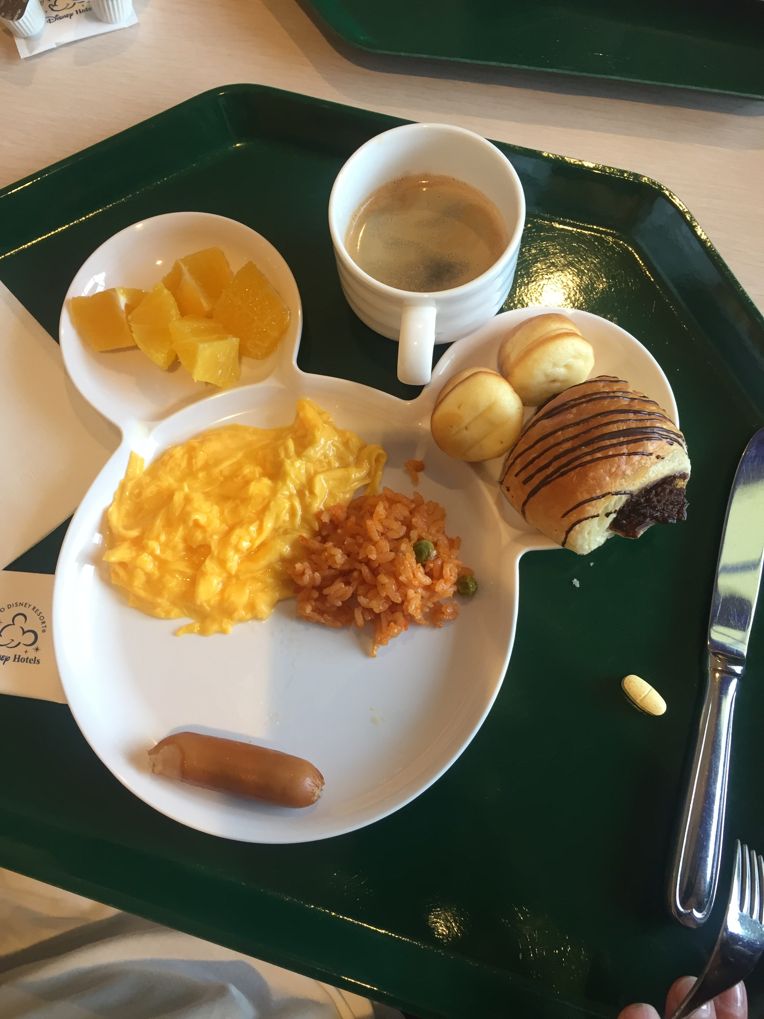 Disney Celebration Hotel offered both a traditional Japanese breakfast (mostly fish, salads, rice and fruit) in addition to, a Western breakfast (loose scrambled eggs, pastries, etc.).