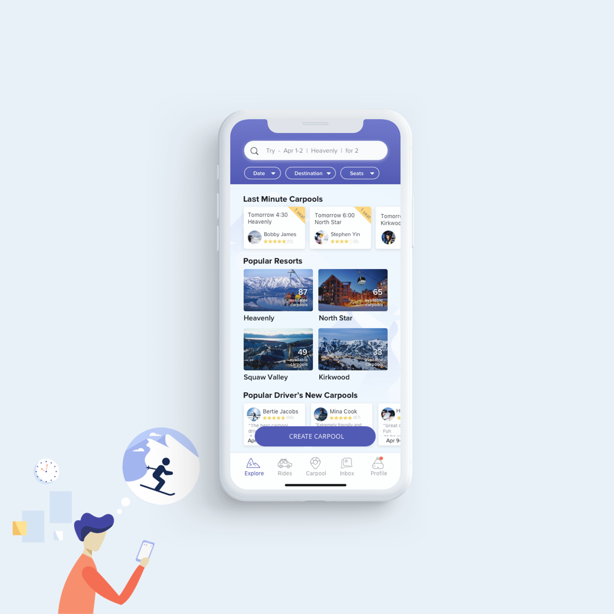 Streamlining Ski Carpool Matching - Product, UX, UI Design