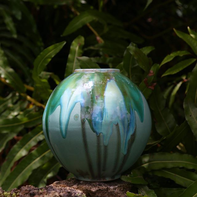 Moody vase! It's funny how photography can make the same piece look so different. This is the same piece that I posted before and now looks almost iridescent. 📷 @skenehowie . . #moodyvase #101reasonstobago  #ceramics #stoneware #stonewareceramics #handcraftedintobago #handmade #jungleinteriors #tropicalinteriors #tropicalinteriordesign #madeintnt