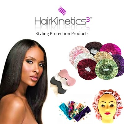 Hair Kinetics3   Hair Kinetics3 is an African-American woman owned business retail/wholesale business that creates and develops high-quality styling protection products.  Hair Kinetics3 introduced the Luxe Silk Collection in 2017 to appeal to the natural haircare market and develops Silk products for women who care about hair and skin maintenance at an affordable price.  Hair Kinetics3 has exhibited at International Beauty Show, Las Vegas and Bonner Bros and Spectrum Beauty Expo.