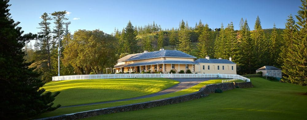 Government House, one of the earliest and most intact buildings of its type remaining in Australia (Norfolk Island Tourism).