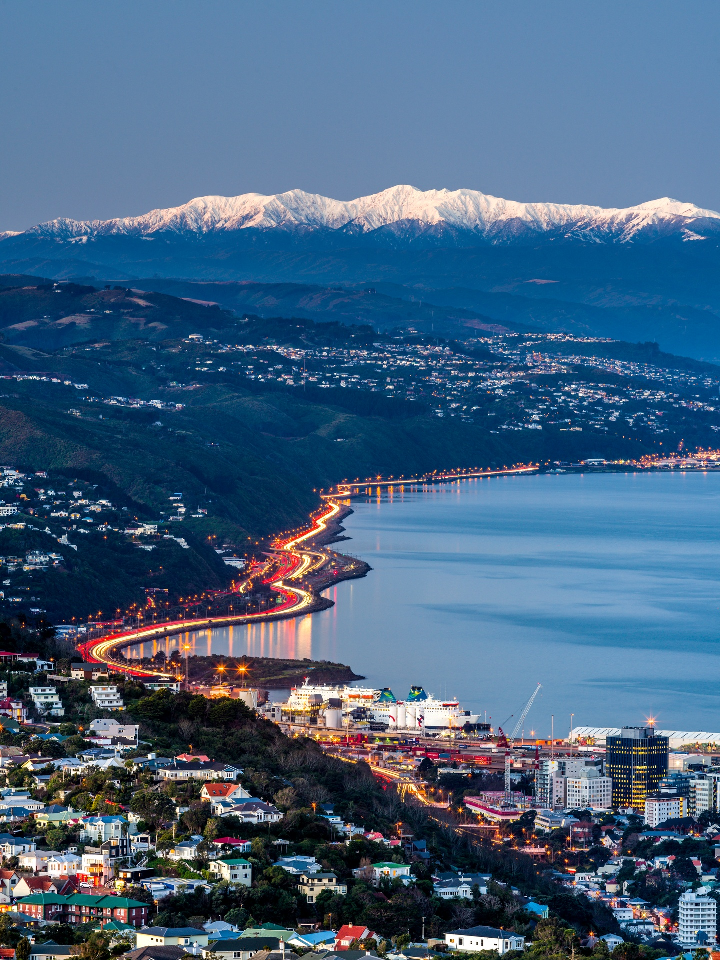 Wellington City at night (image by Rob Suisted care of Wellington Tourism).