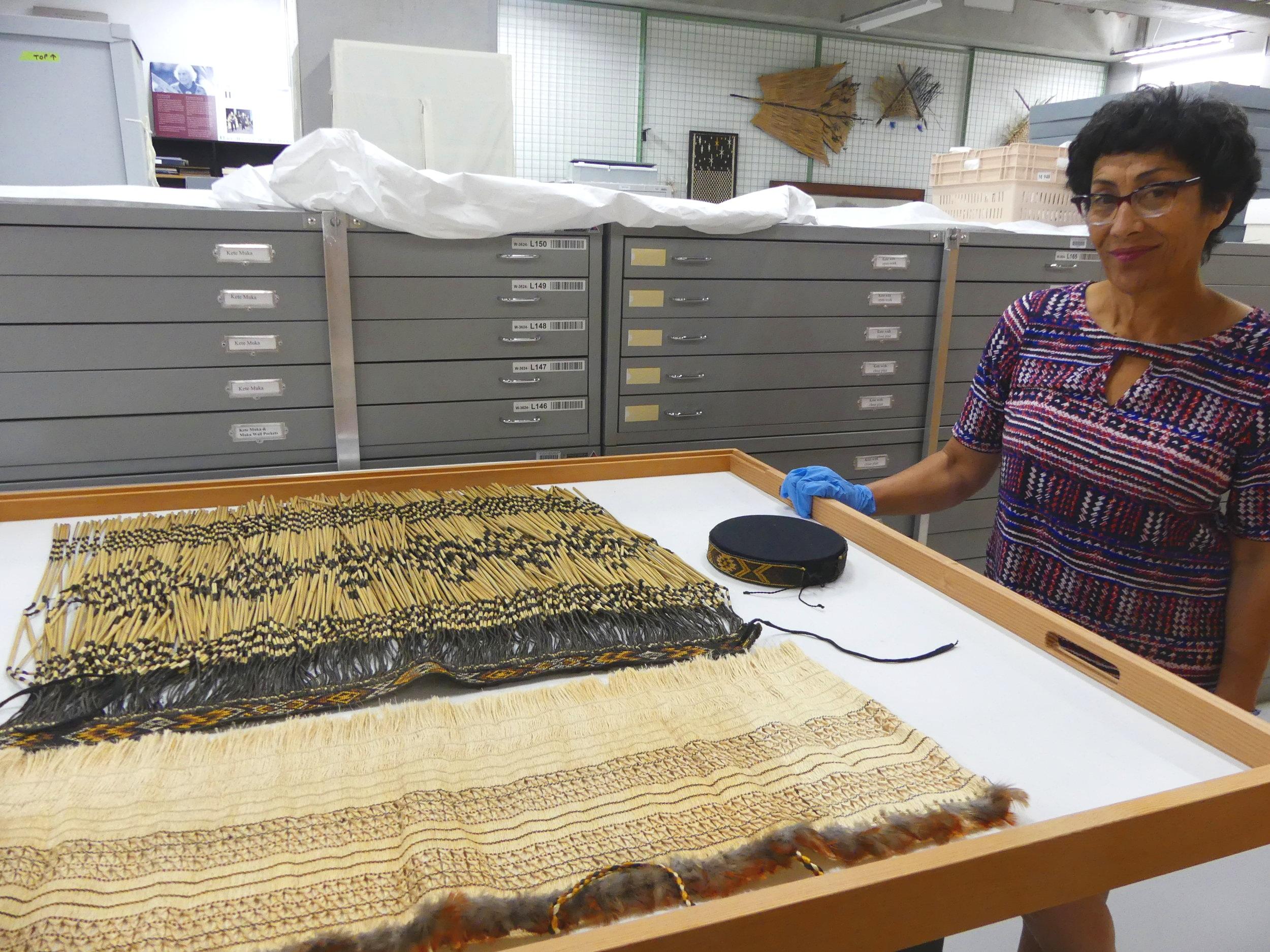 Te Papa textile conservator and researcher Rangi Te Kanawa, Te Papa archives (image by Jacqui Gibson).