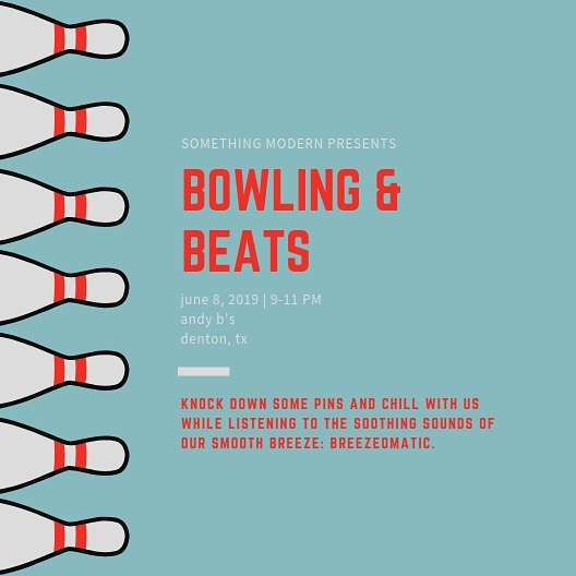 We've got Bowling and Beats this Saturday night from 9-11pm. Come play a round of bowling or laser tag with the squad—and while you're there, play some arcade games and listen to the smooth breeze my vibes of our very own, @breezeomatic.  #somethingmodern #bowlingandbeats #breezeomatic #andybs #andyb #andybsdenton #andybdenton #denton #dentoning #dentontx #dentontexas #beats #music