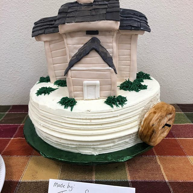 Toni Snowden made this fabulous cake for our dessert dash. However, it was not the first cake she made - the first one her puppy ate!  Kudos to Toni for being able to make another replica cake for us!