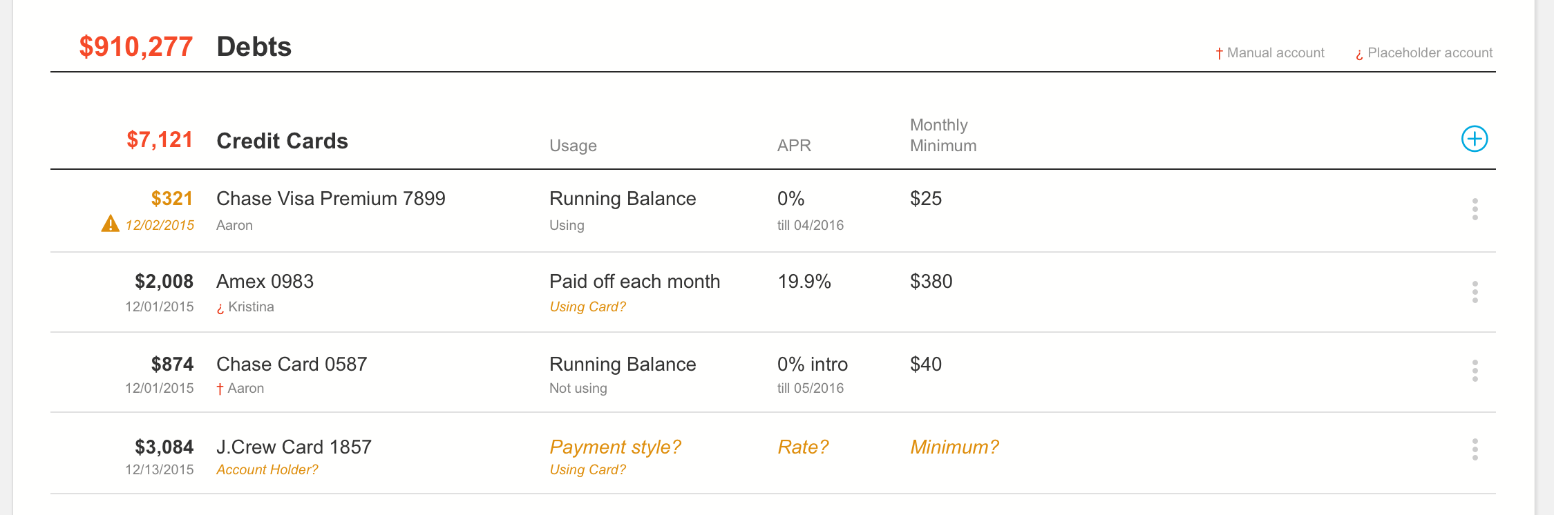 Primary + Secondary value pairings allowed for greater contextual information but still optimized for scanability. I also strived to keep column alignment — asset contributions and debt monthly costs are aligned to help the planner know how much money is being spent.