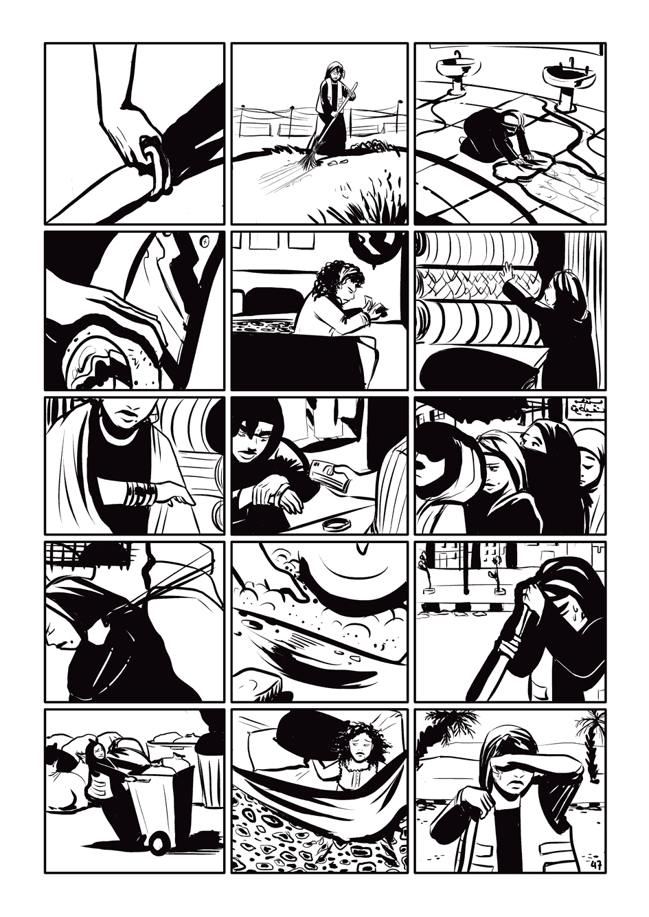 a page layout where, if you squint at the panels, they form the protagonist's husband face