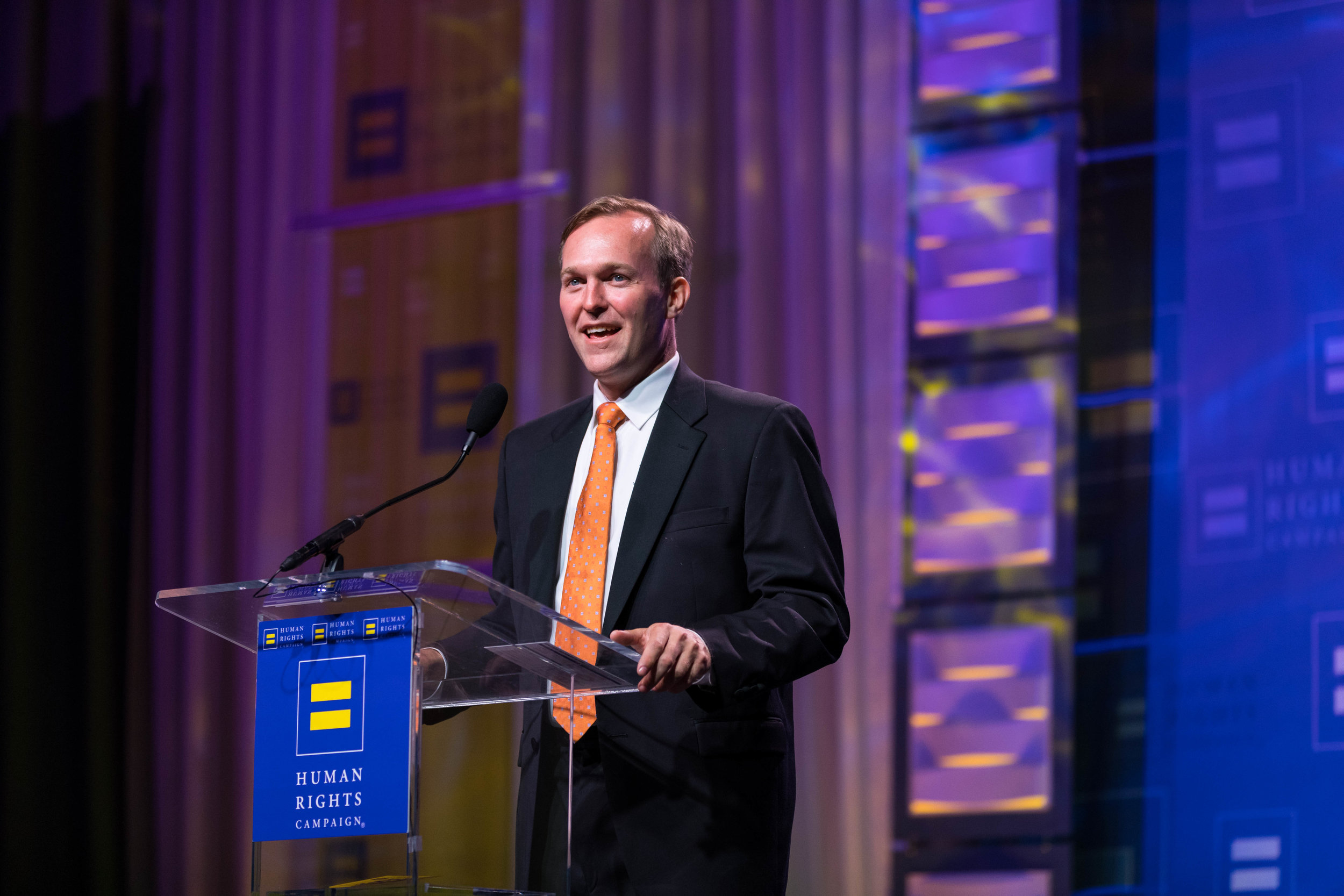 Ben McAdams speaks at the 2018 HRC Utah Dinner a few months before being elected to the United States House of Representatives.
