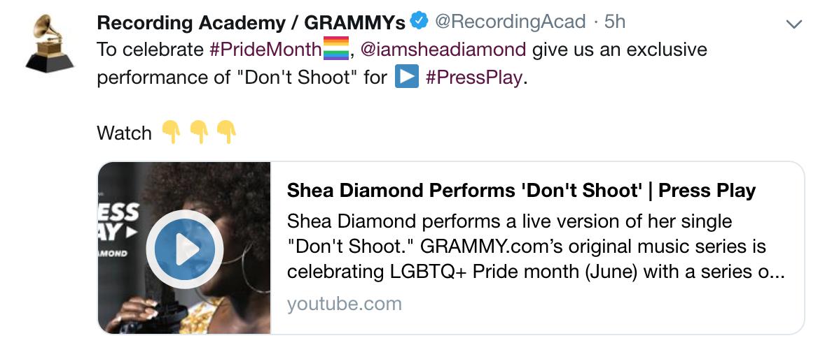 Shea Diamond Tweet by Recording Academy