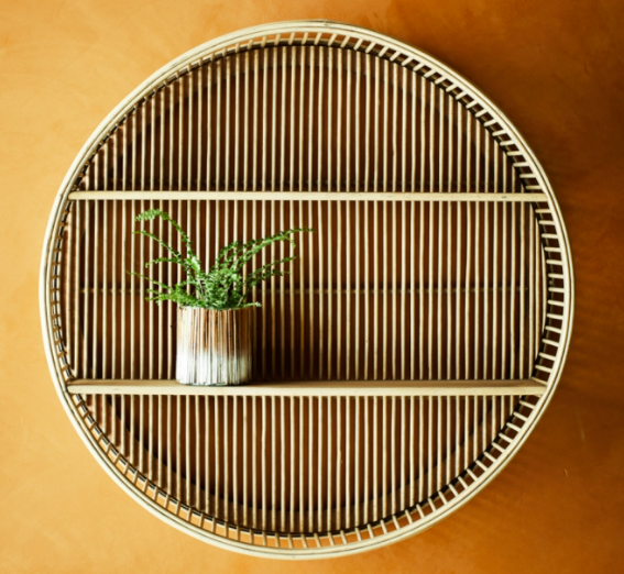 Circular bamboo shelving unit from Accessories for the Home