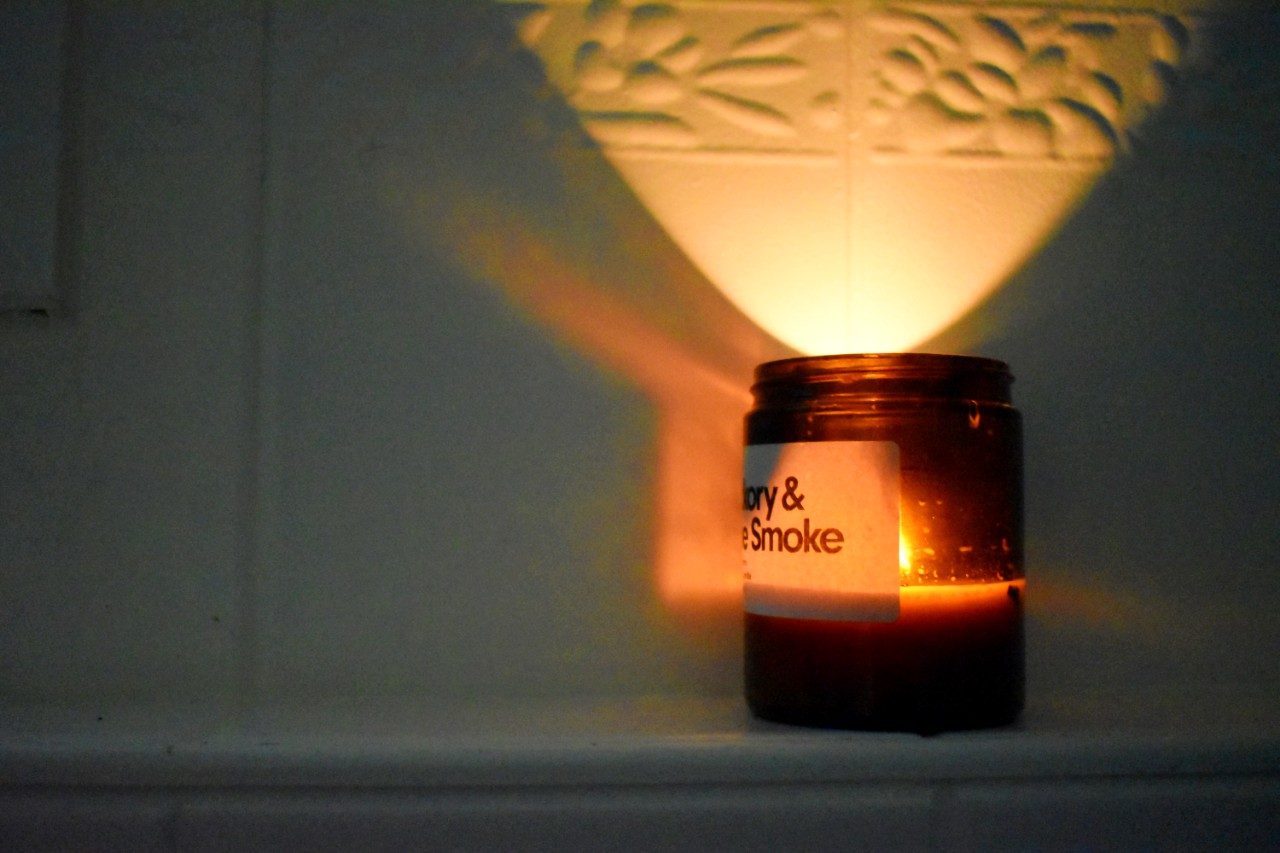 Listen to the crackle of a wood-wick candle