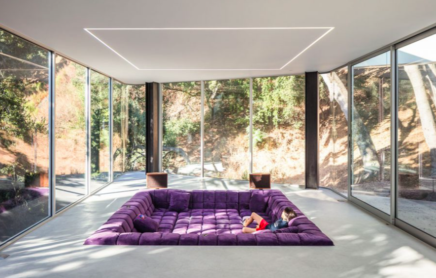 Contemporary conversation pit by Craig Steely Architects. Photograph by Darren Bradley