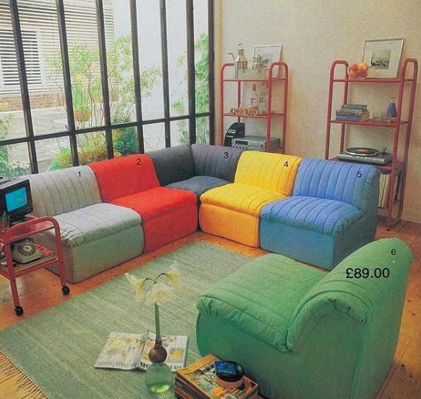 IKEA multi-coloured chairs, 80s