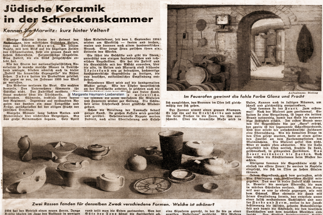 Magazine article: Article from Berlin propaganda magazine 'The Attack' – a comparison of ceramics by Margarete and Hedwig, captioned 'Two different races found for the same purpose different forms. Which one is more beautiful?'.  Image: © Zeitungs-Archiv Ofen- und Keramikmuseum Velten