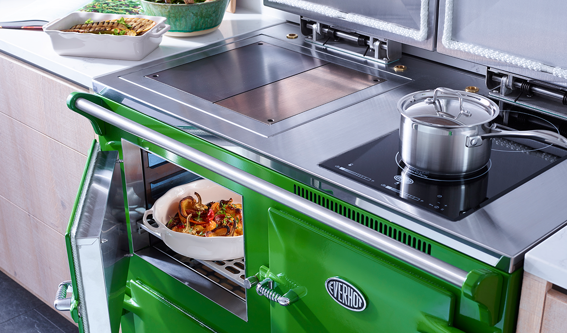 Everhot 110i - The Everhot 110i offers a fascinating hybrid of classic cast iron hotplate cooking, whilst providing the latest in induction technology with its two zone hob – ideal to increase the overall hotplate space or to provide a useful facility during the summer months. This cooker also benefits from three full size controllable ovens.
