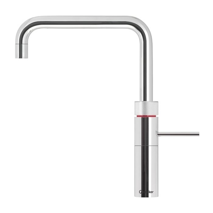 Fusion Square and Round   Quooker's newest innovation the Fusion, is a single tap which unites both mixer and boiling water functions. Convenient, space saving and sleek. Incorporates a childproof double-push-and-turn handle with light ring.