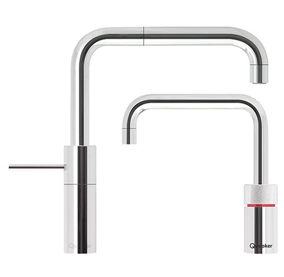 Twintaps   Quooker's Twintaps, our matching boiling-water and mixer taps, are both practical and stylish. The boiling-water tap is height-adjustable.