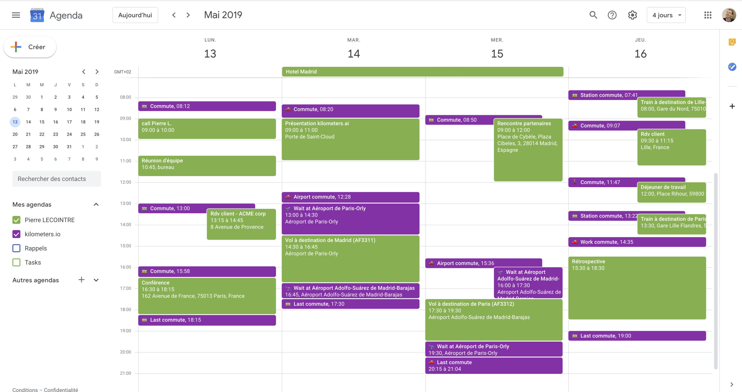 kilometers calendar analysis