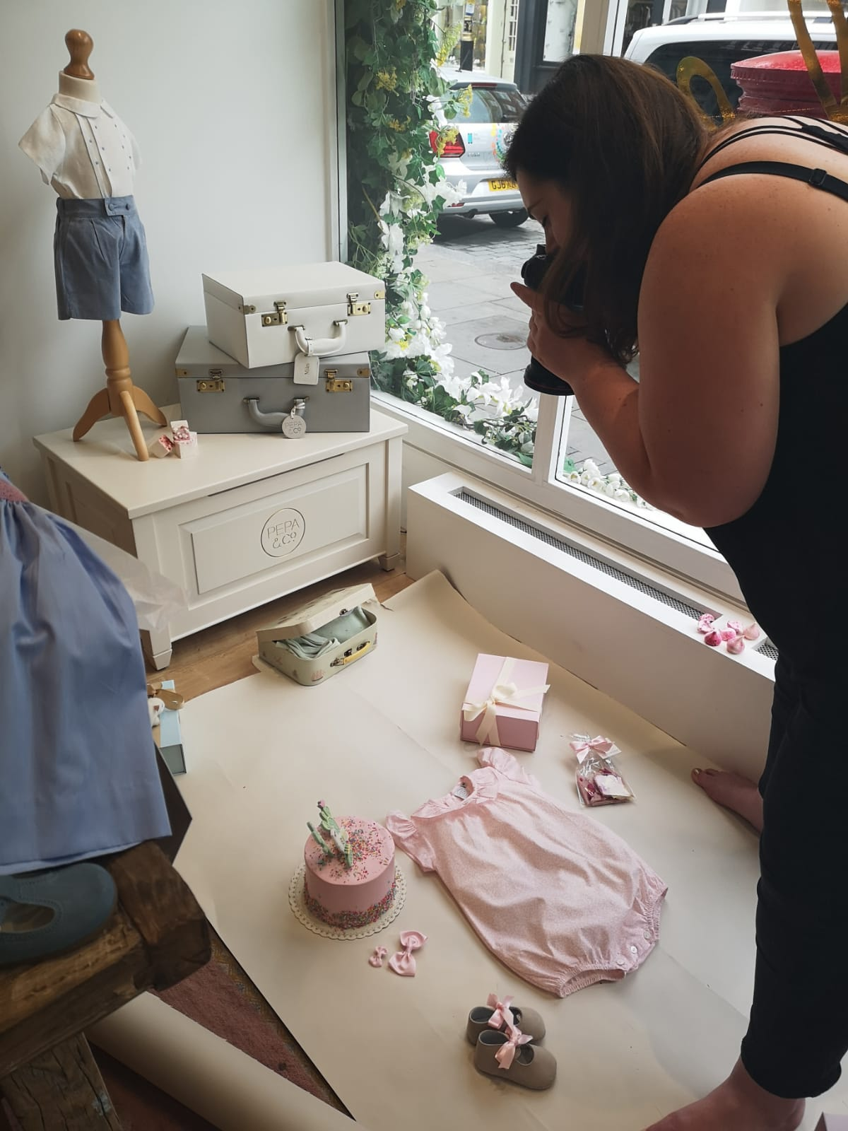 Photographer Rosie Parsons shooting for Pepa and Co Prince George's favourite childrens clothing brand with Peggy Porschen Cakes in Elizabeth street, Belgravia, London