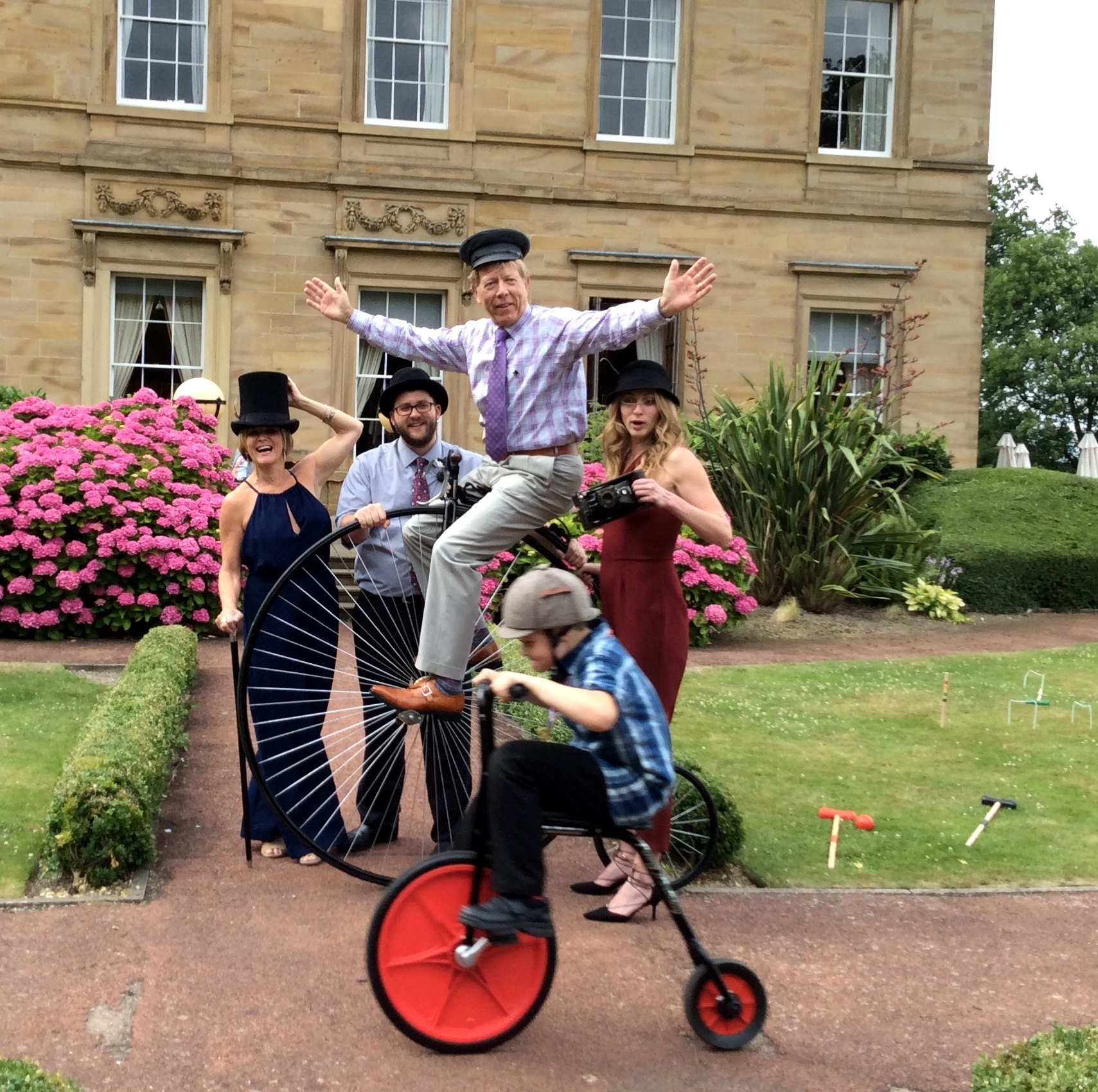 VINTAGE FUN! - Designed with Historical sites in mind, our specialist range of Penny Farthing bikes are suitable for all ages to enjoy. And can be ridden on all types of terrain without damage to grounds!Dressing Up and props are all part of this spectacular wedding day attraction, giving much fun and folly. Safety helmets are all in a vintage style making the whole experience safe, exciting and brilliantly unique!