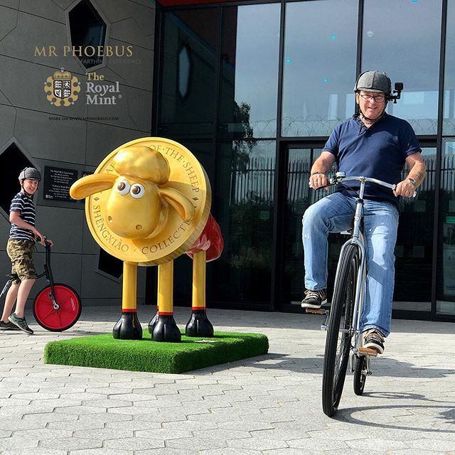 I'm just loving this shot of this chap as he rides one of our superb Penny Farthings around Shaun the sheep at The Royal Mint Experience.jpg