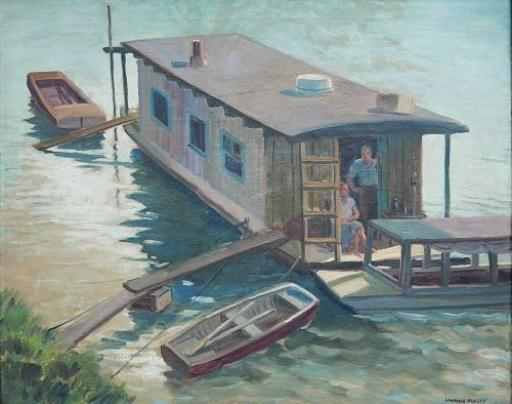 """''House Boat on Ohio River,"""" by Cleveland, Ohio, painter/ceramicist Lawrence Blazey (1902-1999). Exhibited in 1933 at the  15th Annual May Show , Cleveland Museum of Art. Collection of Warren and Julie Payne."""