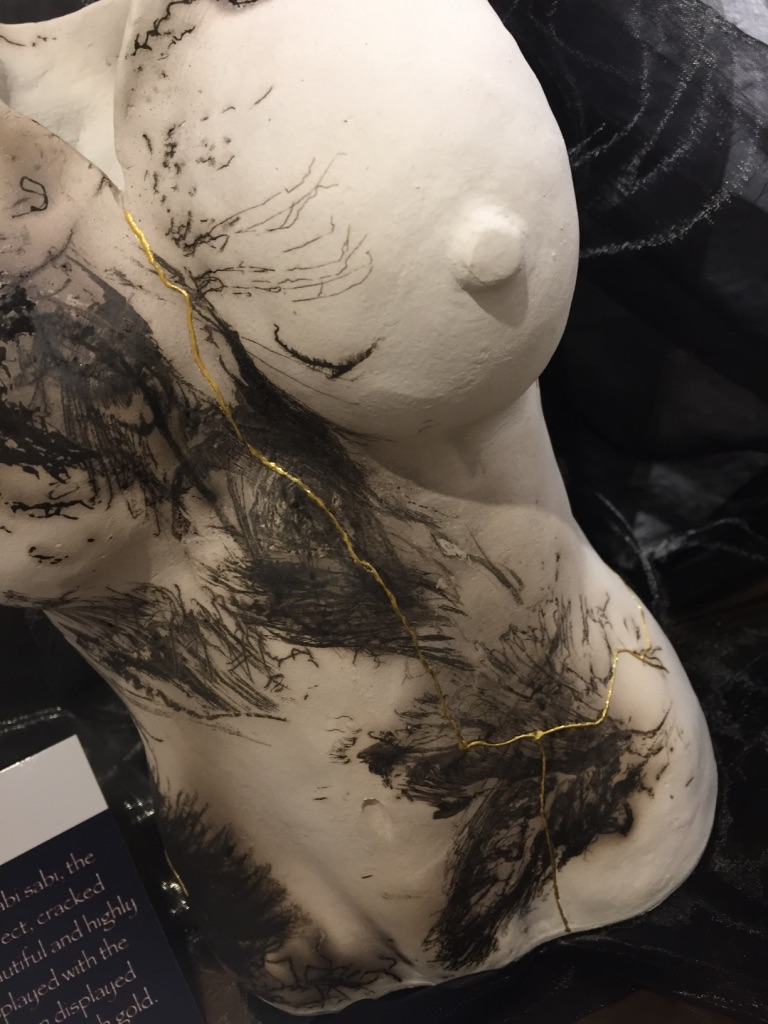 """'Wabi Sabi"""" -  the art of the imperfect   Gold leaf was used to highlight flaws and imperfections in Raku Firing."""