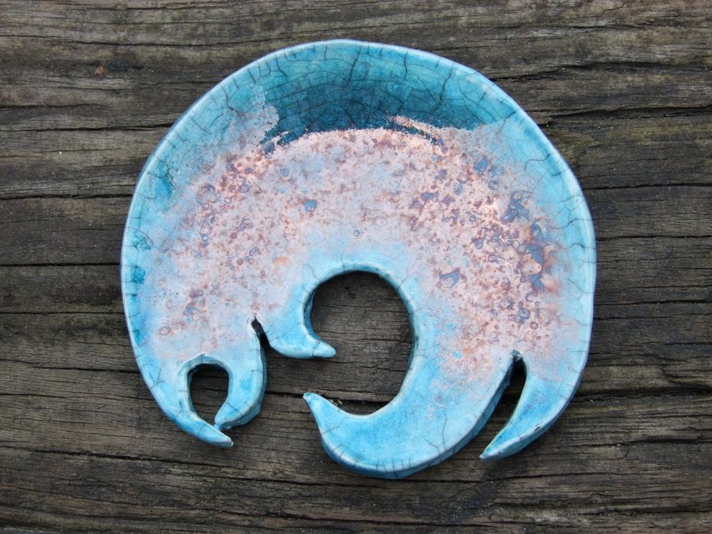 Raku Soap Dish  Turquoise Glaze