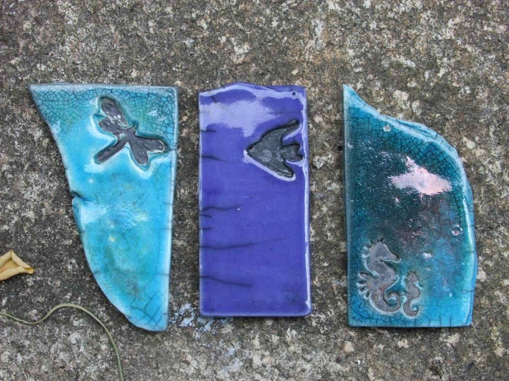 Raku Fragments  Turquoise & Cobalt Blue