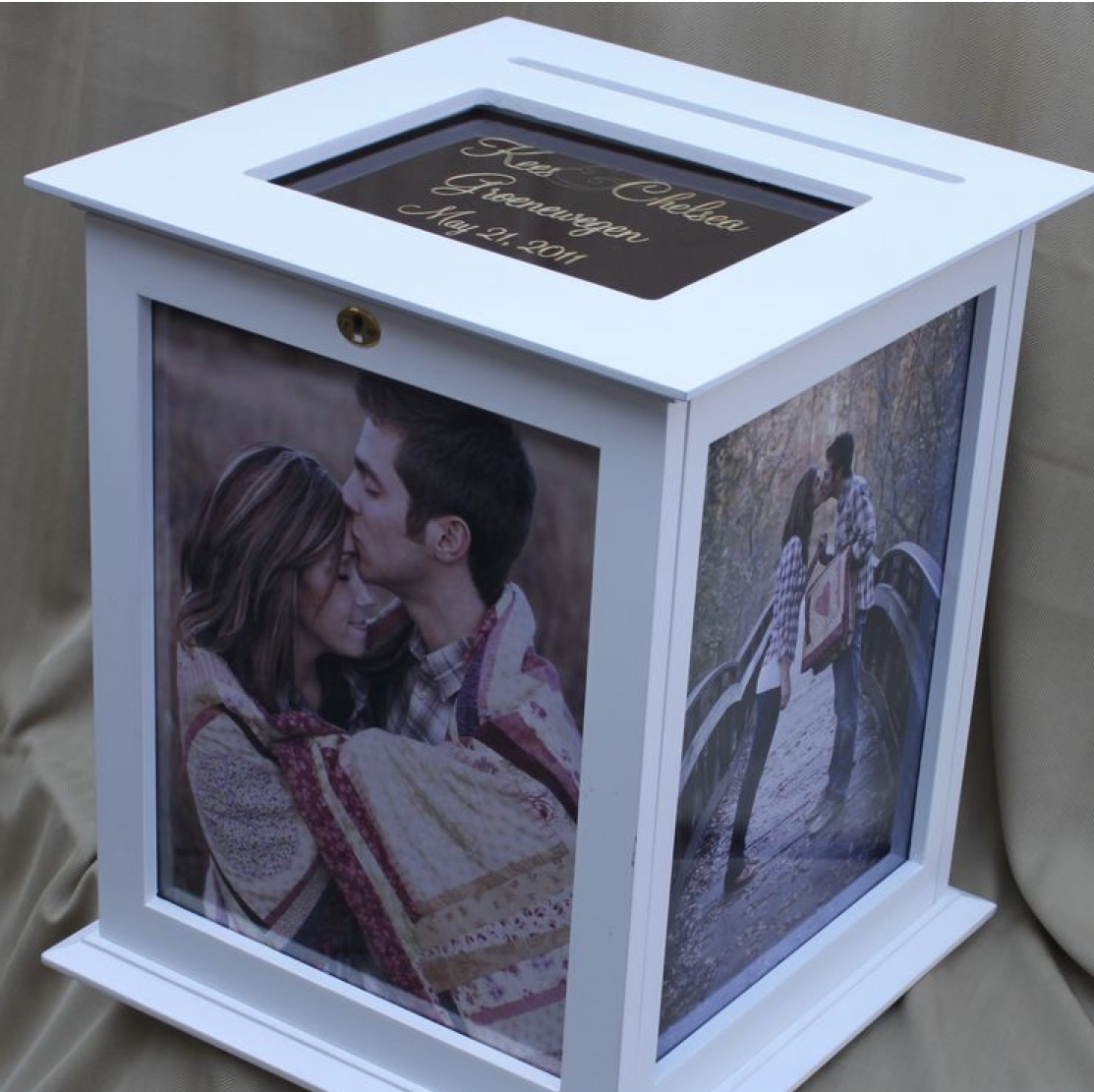 card display box - I personally love this idea for wedding cards (usually the prettiest in my opinion!) It's a great way to display those meaningful notes and share them with your family and friends. Etsy has plenty of beautiful display boxes like the one shown here.