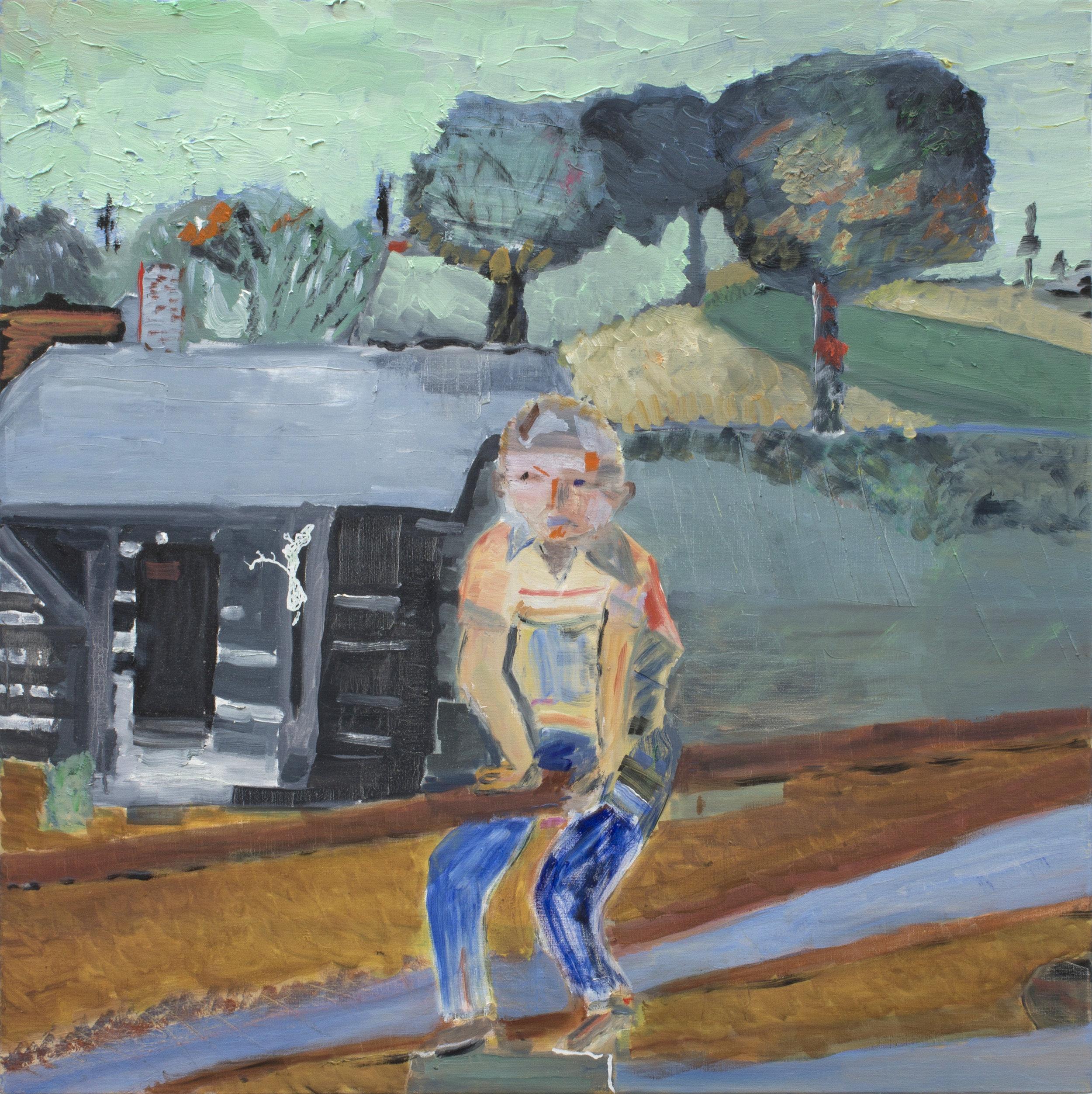 "Riding the Rail , 28 x 28"", oil on linen, 2015"