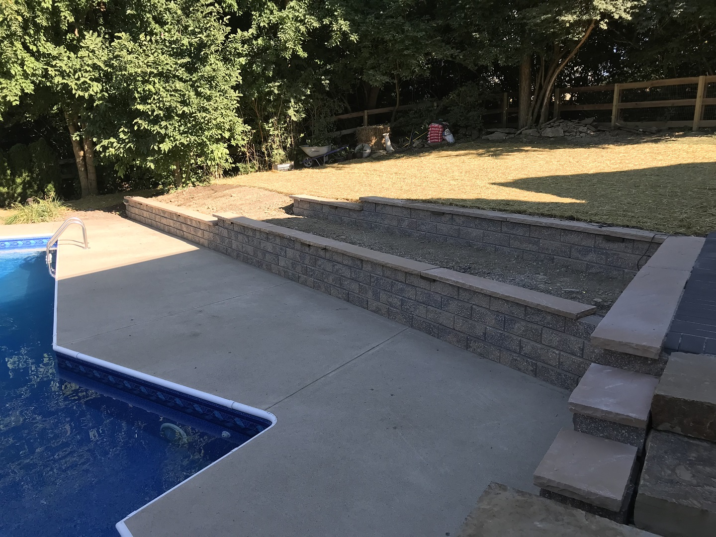 Custom patio with retaining walls in West Chester, Ohio