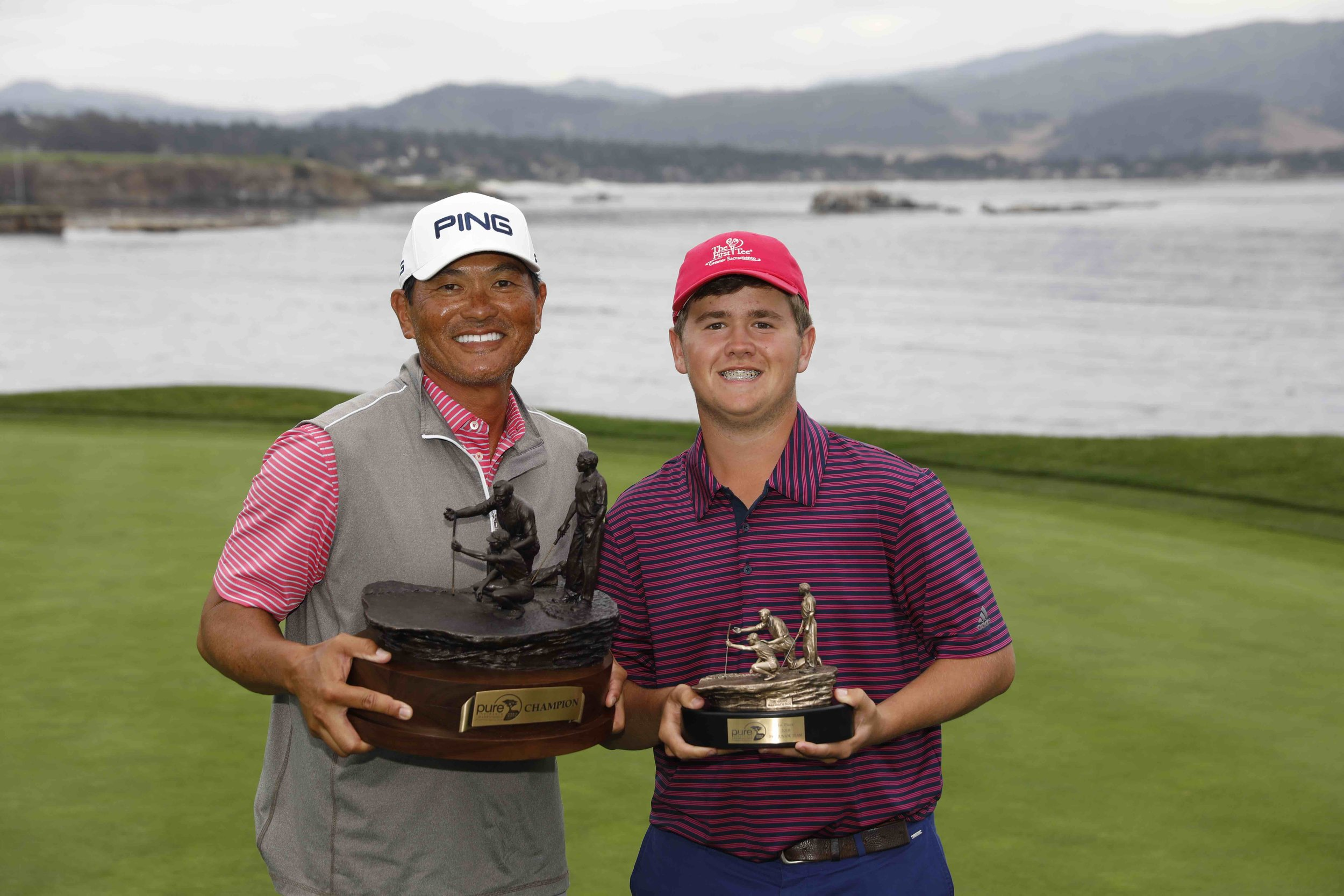 Pro and Junior winners of the 2018 PURE Insurance Championship, from left: Ken Tanigawa and Matthew Sutherland of The First Tee of Greater Sacramento.