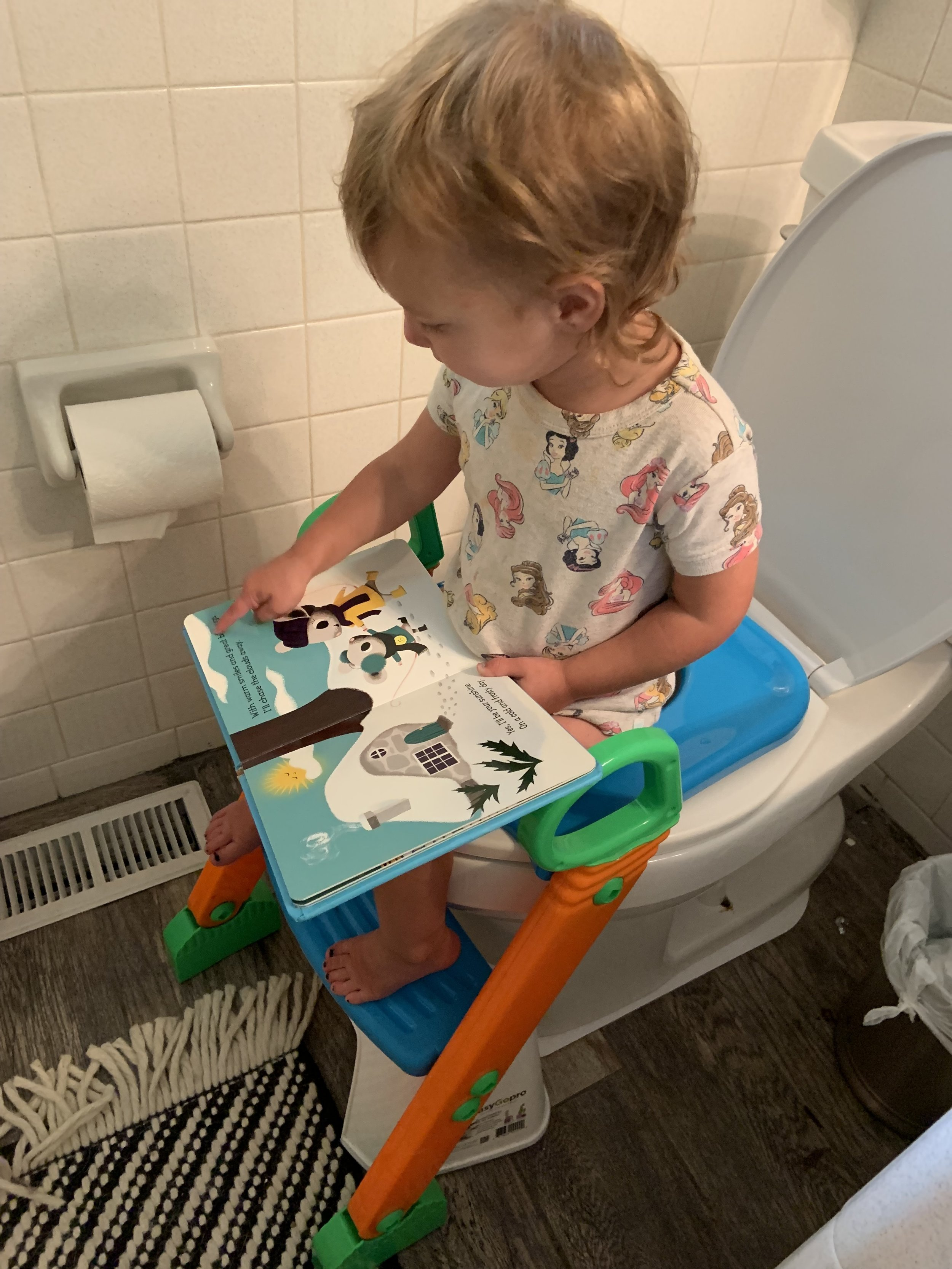 We set up a reading basket by the toilet so Dallas could read during her training. This helped alleviate anxiety - especially with going #2.