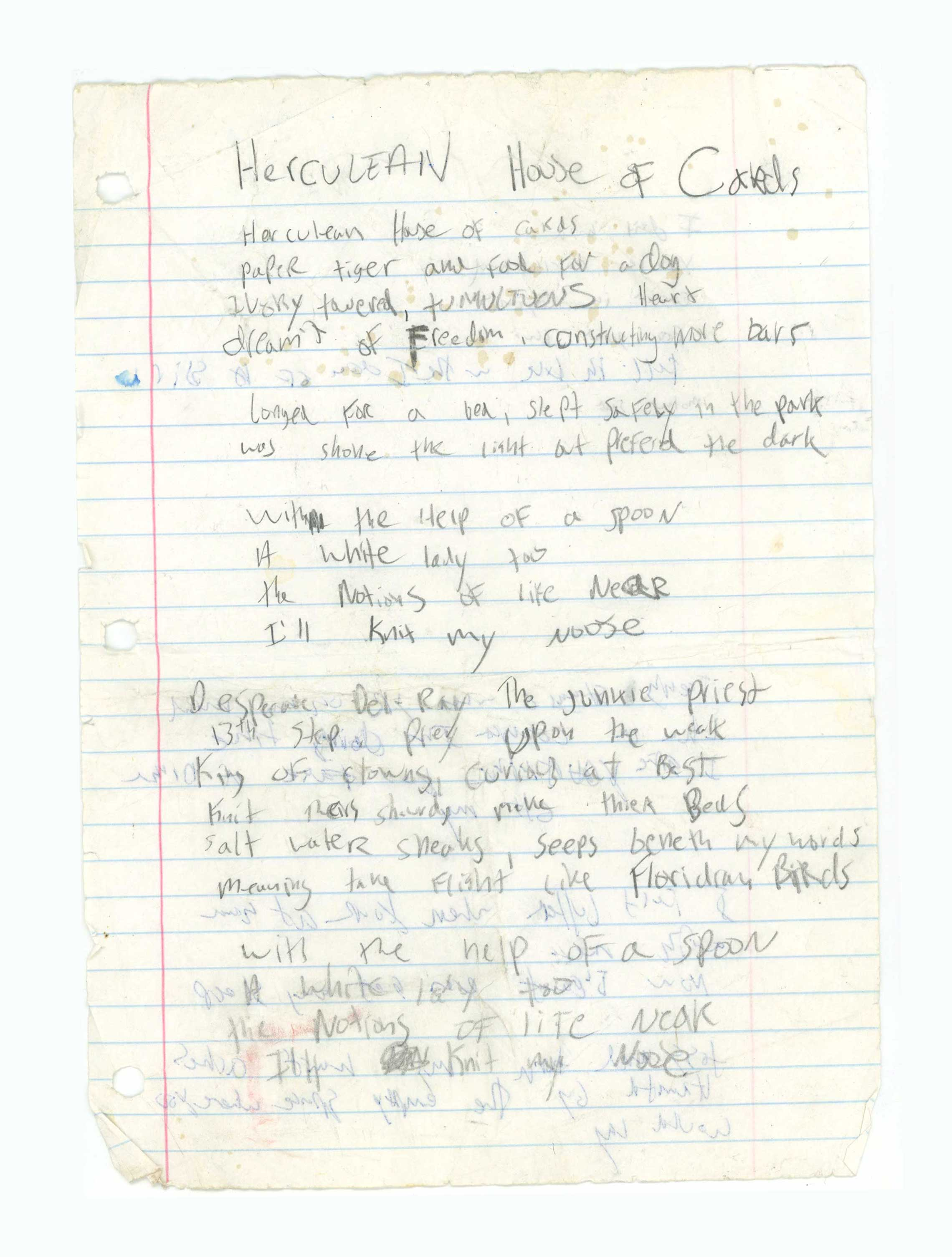 Trey's lyrics for an early version of his song  Herculean House of Cards