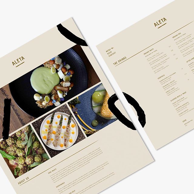 Website design for restaurant branding project, Aleta. Includes drinks list (of course 🍻) and a bit about why the company stands out in a world of plastic pollution and food waste. (Note: This is a concept restaurant but there are many incredible companies out there doing their bit and helped inspire this project @silobrighton @lyan.cub @toastale to name a few)  #branding #identity #identitydesigned #website #design #digitaldesign #menu #food #sustainablefood #zerowaste #neutral #natural