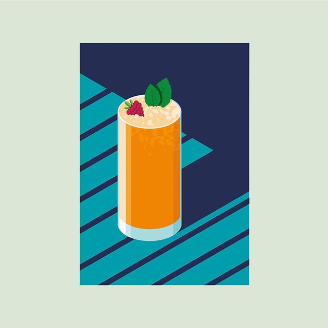 Second in a series of isometric illustrations I created for an event at the White Label bar. For all the sherry lovers out there - here's a Sherry Cobbler with fresh fruit, mint leaves and crushed ice, perfect for summer 🍹  #illustration #isometric #bar #recipecards #cocktail #recipe #colour #illustrationoftheday #vector #digitalart #drinks #marketing #cheers #sherry #sherrycobbler #summer #summerdrinks